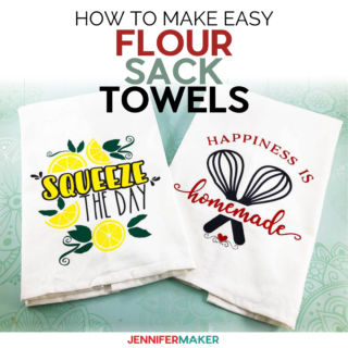 Finished Flour Sack Towels perfect to personalize your kitchen. Use our free SVG to make the perfect gift.