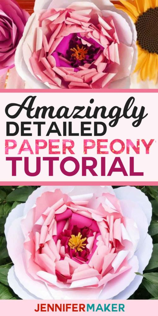 Make a Giant Paper Peony Flower | Photo Backdrop | Wedding Arch | Room Decor #Cricut #paperflowers #homedecor