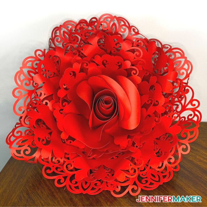 Finished giant lace paper flower