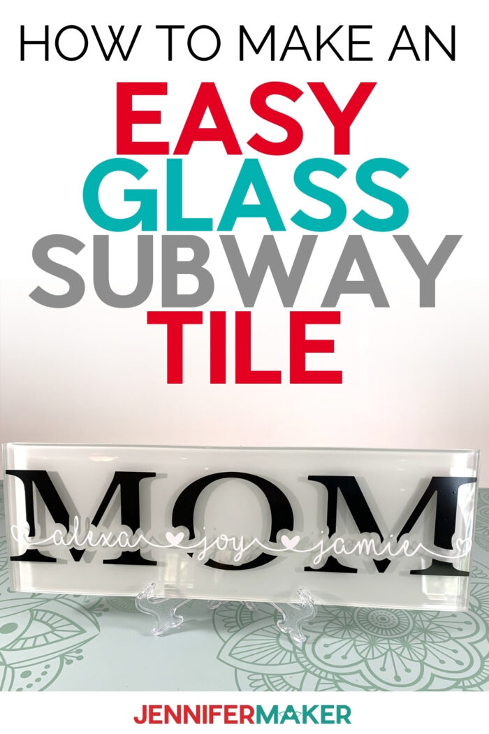 Create an easy personalized Glass Subway Tile Sign as home decor or for a unique gift! This is an easy project that lets you have fun with fonts! #cricut #cricutmade #cricutmaker #cricutexplore #vinyl