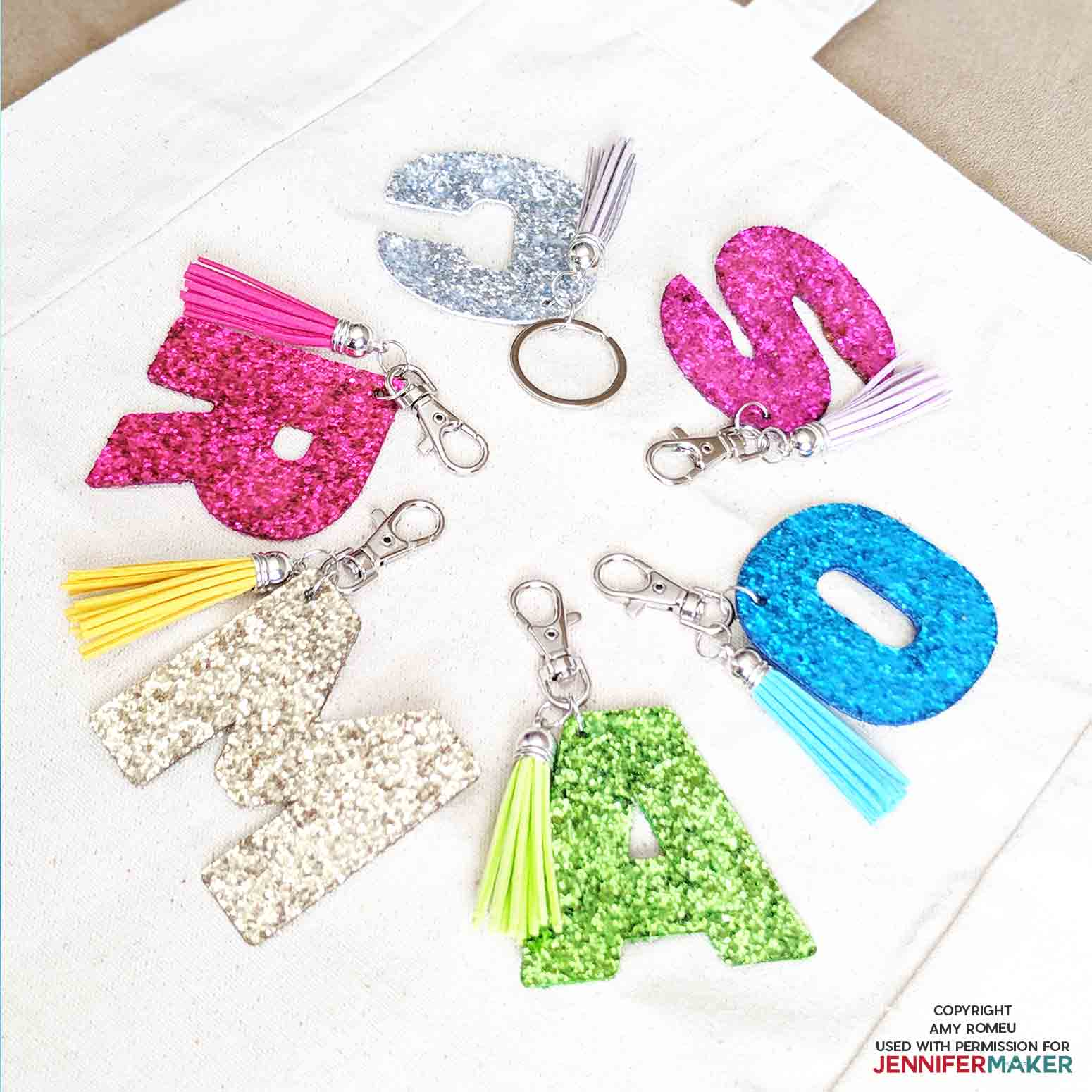 glitter initial keychains by Amy Romeu