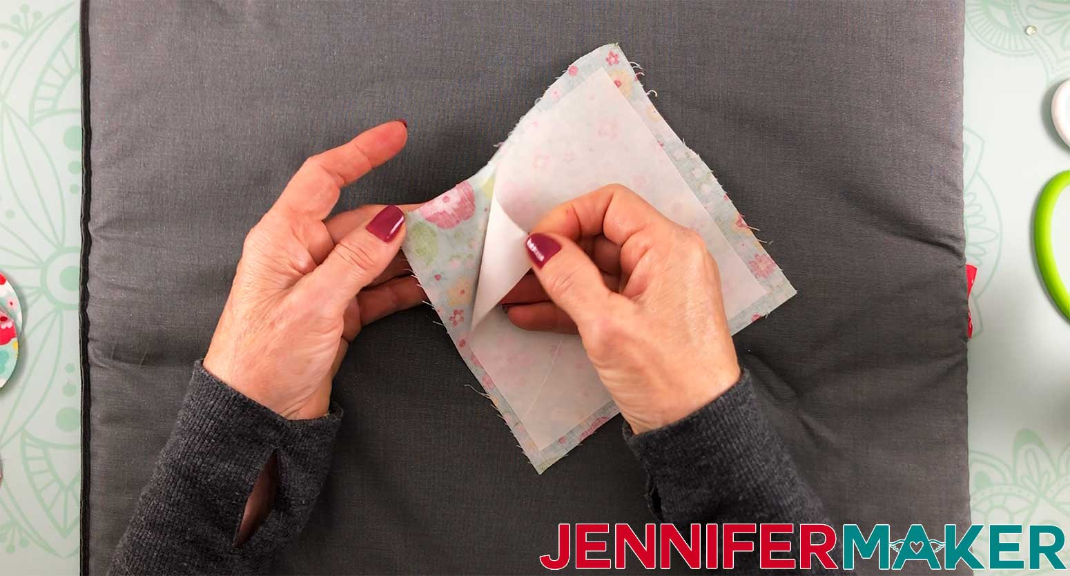 Hair-Bows-JenniferMaker-removing-paper-backing-from-heat-and-bond