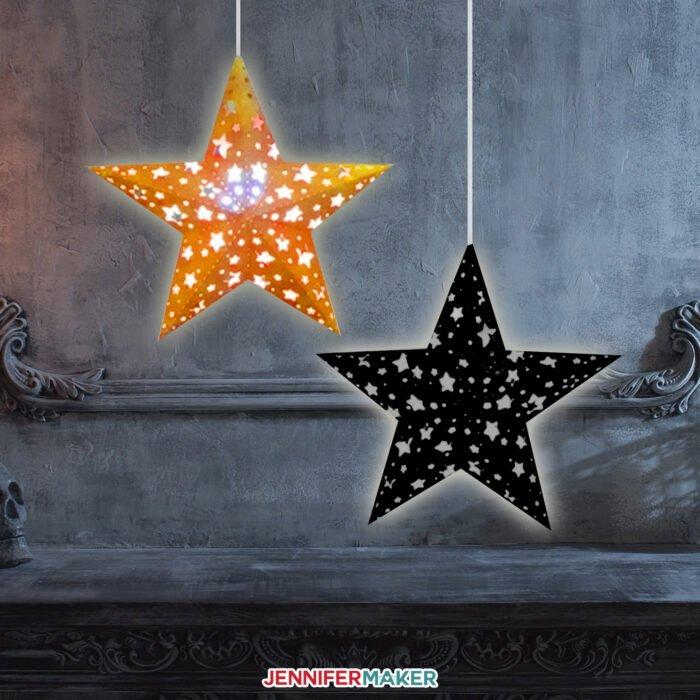 Paper star lanterns in orange and black make a fun Halloween paper craft idea