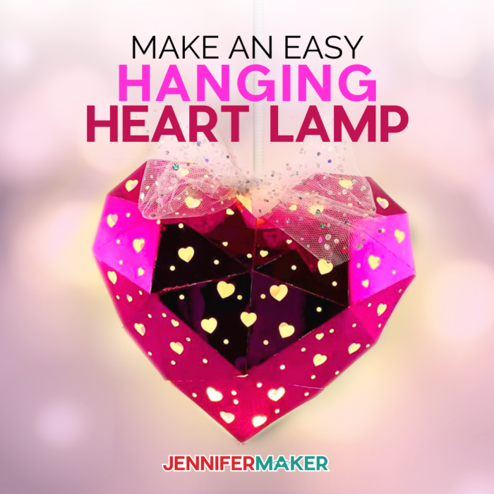 heart shaped hanging paper lantern with a light is a fun Cricut Valentine idea