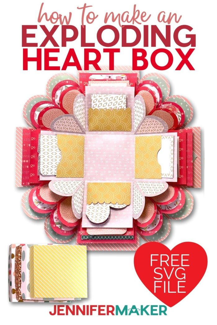 Learn how to make this beautiful and explosion box tutorial to show your love all year around! This awe inspiring box makes an amazing gift to give to those you love! Free SVG cut file included with the step by step tutorial!