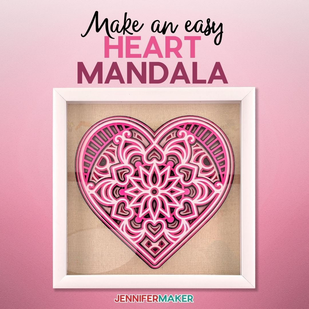 3D Layered Paper Heart Mandala made from Cardstock and - Free SVG Cut File to Cut on a Cricut