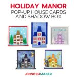 Make a Pop-Up House Card Holiday Manor for Fourth of July, Halloween, Autumn, or Christmas! | Free pattern and SVG cut file #cricut #cardmaking #halloween #christmas #svgcutfile