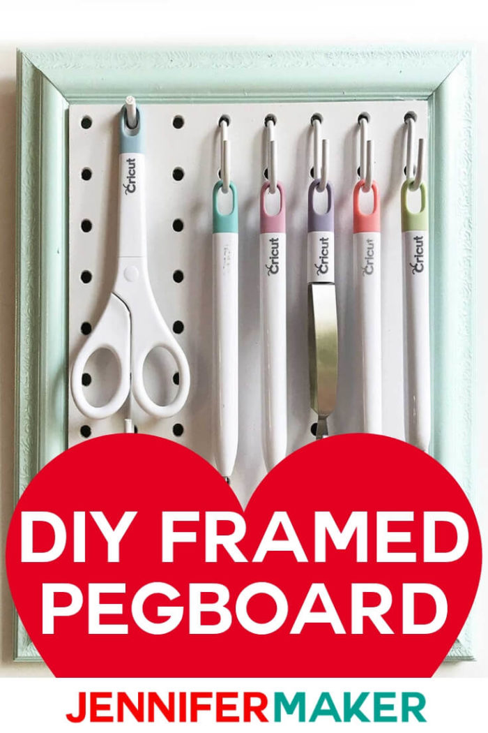 Learn how to make a DIY framed pegboard tool organizer to store your Cricut tools or other small crafting tools.  #cricut #diy #tutorial #craftprojects #craftroom