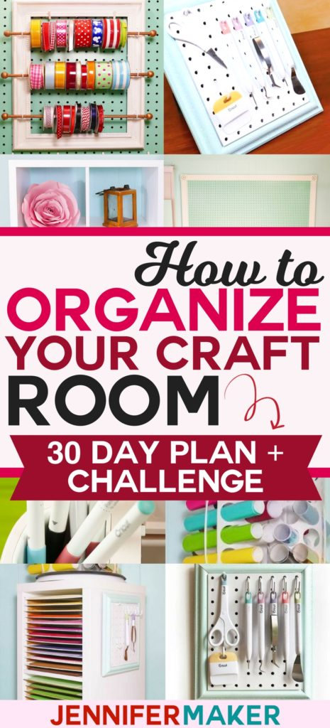 How to Organize Your Craft Room in 30 Days - Free Email Challenge, Tips, Tricks, and Tutorials! #organization #craftroom #craftsupplies