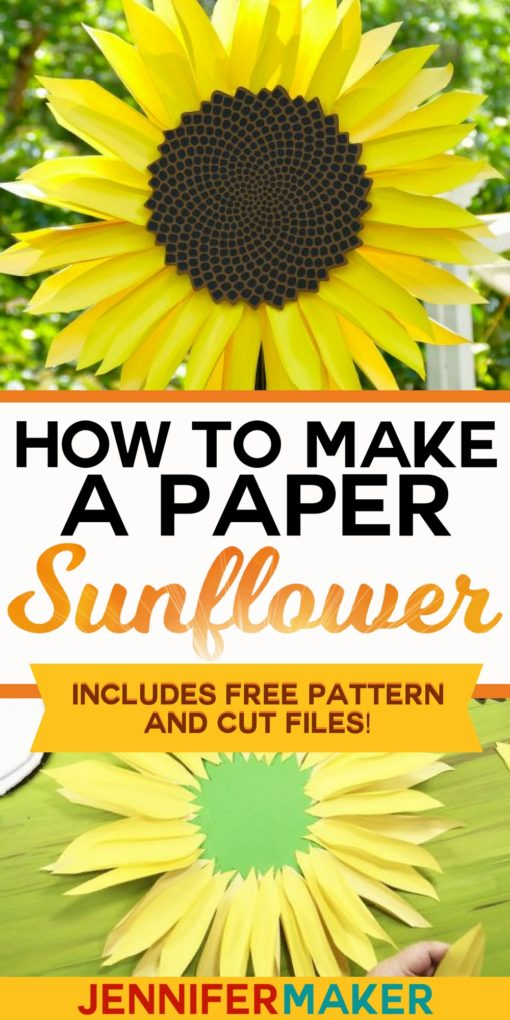How to make a giant paper sunflower with free PDF pattern and SVG cut files #paperflower #cricut #silhouette