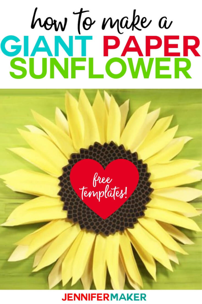 This Giant Paper Sunflower is easy to make with a free SVG cut file and step by step tutorial.  #cricut #cricutmade #cricutmaker #cricutexplore #svg #svgfile