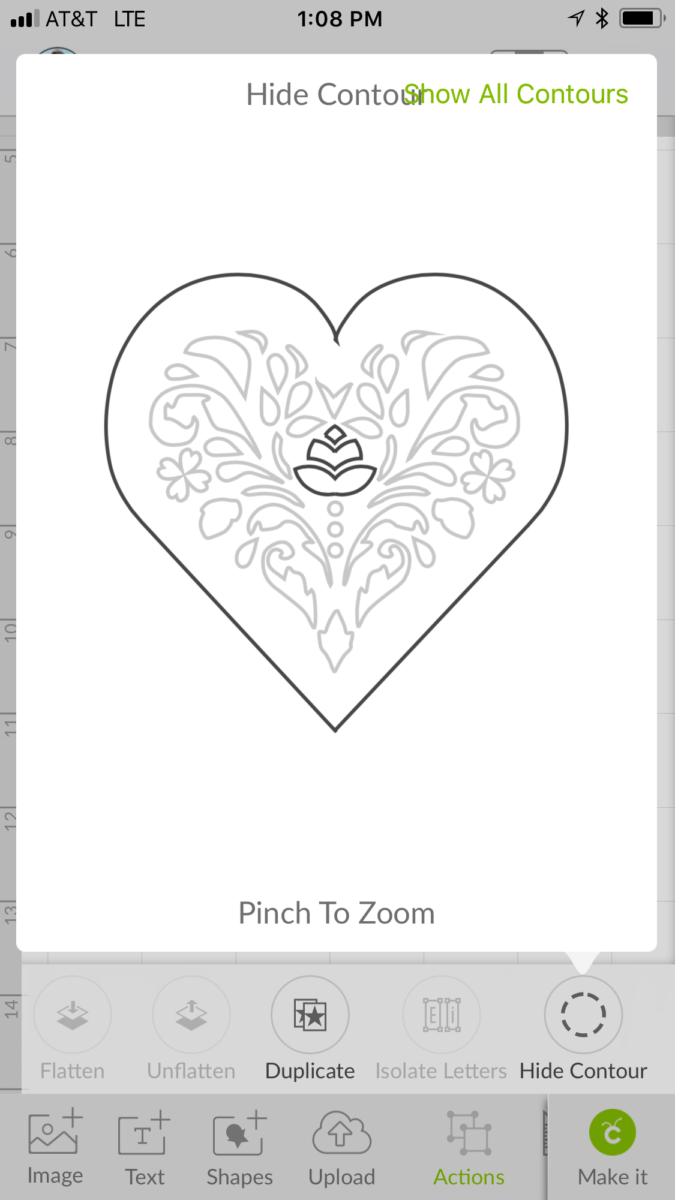 Using the Contour Tooll to remove detail in a heart is a great Cricut Design Space Tip