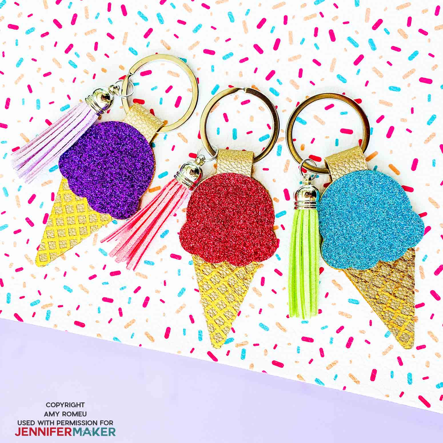 ice cream cone keychains by Amy Romeu