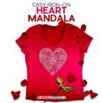 Make Iron On Vinyl shirts using this beautiful heart mandala - Free SVG Cut File to Cut on a Cricut
