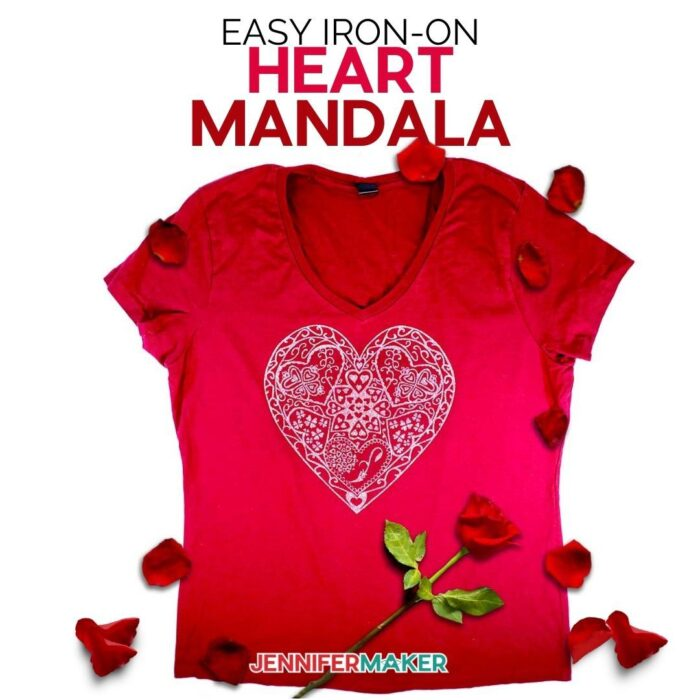 Make Iron On Vinyl shirts for Valentines Day using this beautiful heart mandala - Free SVG Cut File to Cut on a Cricut