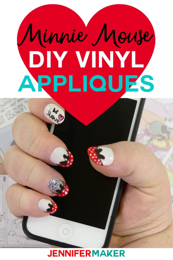 Minnie Mouse Nail Tips are easy to make with vinyl and your Cricut machine. These are perfect for your next Disney vacation. #cricut #cricutmade #svg #svgfile #disney #vinylprojects
