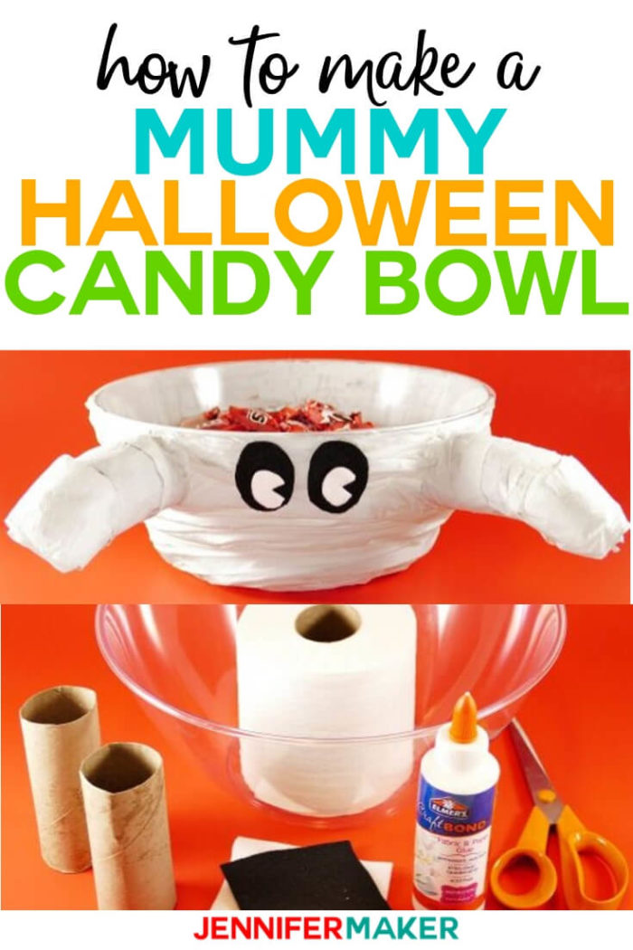 Learn how to make this cute mummy Halloween candy bowl with supplies you already have at home! This bowl is quick and easy to assemble.   #diy #tutorial #craftprojects #Halloween