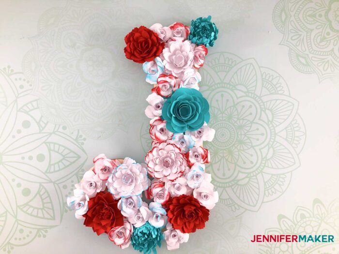 This is the finished paper flower letter