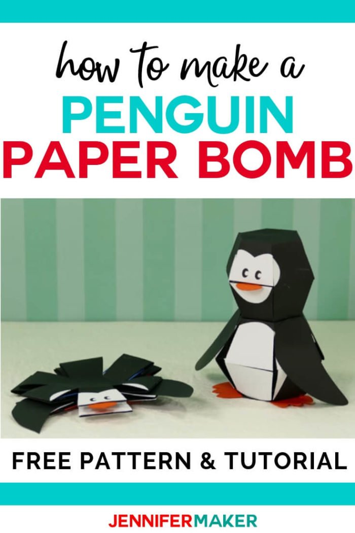 This penguin paper bomb is a challenge to make but with this step by step tutorial and free cut file you can do it! The penguin pops up when dropped on his feet for an amazing effect. #cricut #cricutmade #cricutmaker #cricutexplore #svg #svgfile