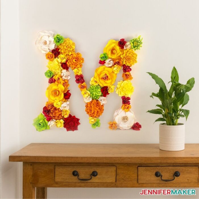 paper flower letter to hang on your wall