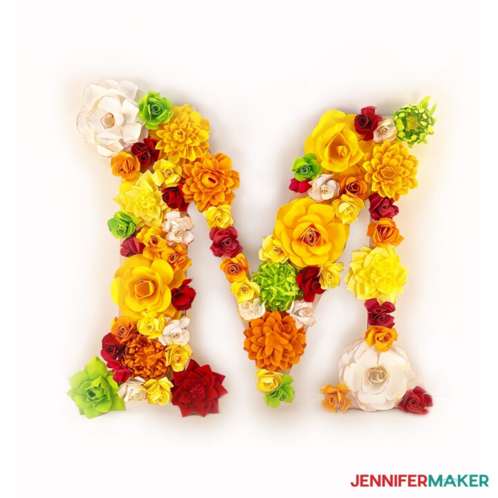 pretty paper flower letter on a white background