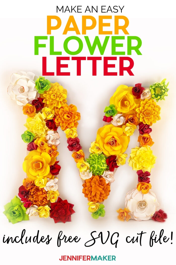 DIY Paper Flower Letter All Art with five free floral patterns and SVG cut files #cricut #paperflower #homedecor