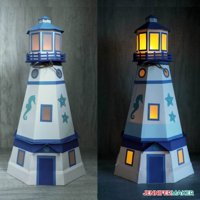 Paper Lighthouse Luminary with LED tealights in blue and white cardstock -- see it with the lights on and off!