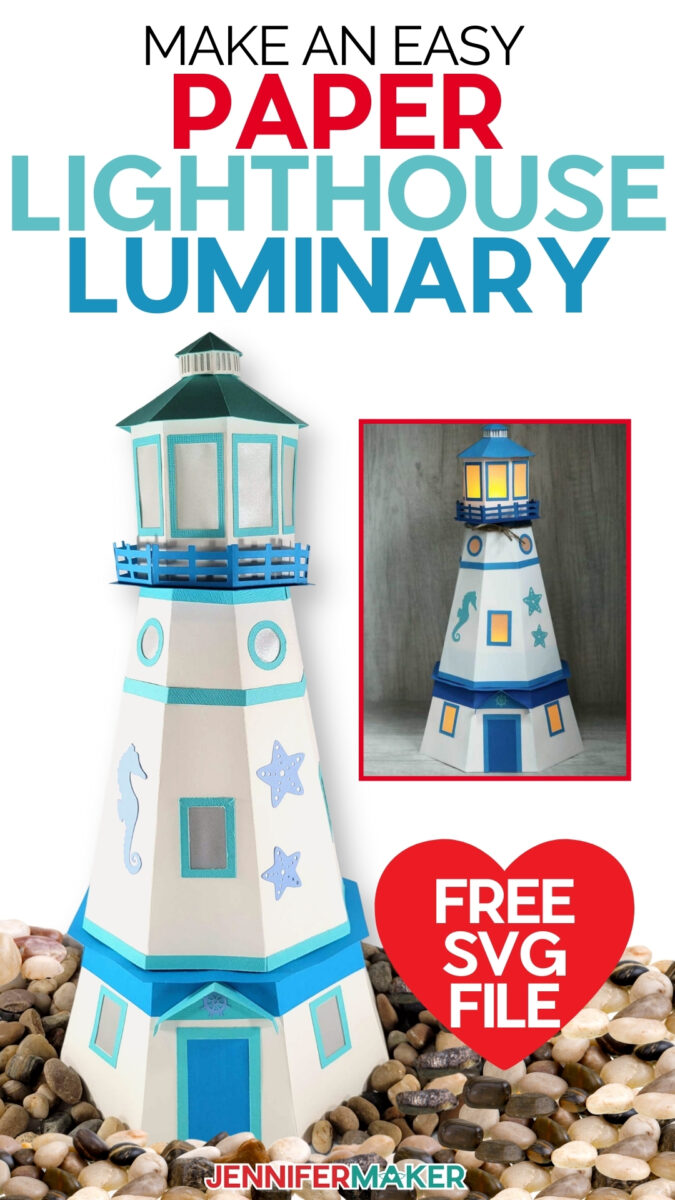 Paper Lighthouse Luminary with LED tealights - Cut on a Cricut! - Free SVG cut files and printable pattern