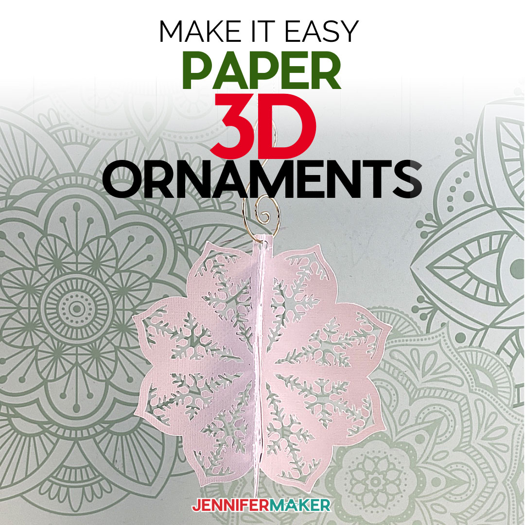 Make 3D Paper Cut Ornaments with Intricate Designs on a Cricut Joy, Explore or Maker with this free tutorial and SVG cut file