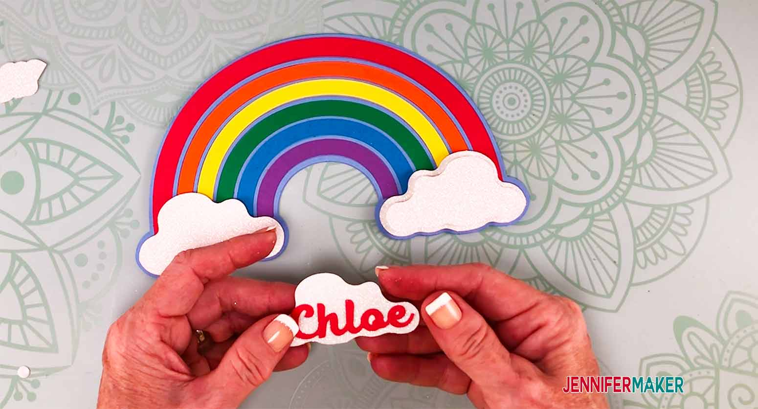 glue name on cloud before layering it on top of the base cloud for my personalized cake topper