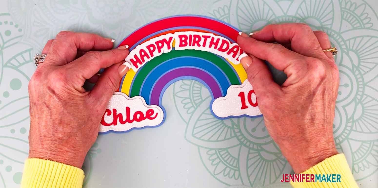 place above the green rainbow for my personalized cake topper