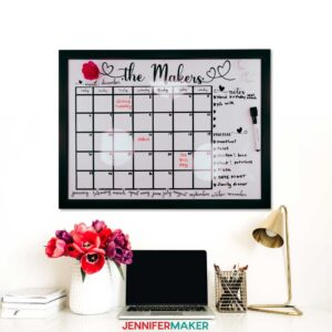Personalized whiteboard calendar with magnets, cut on a Cricut