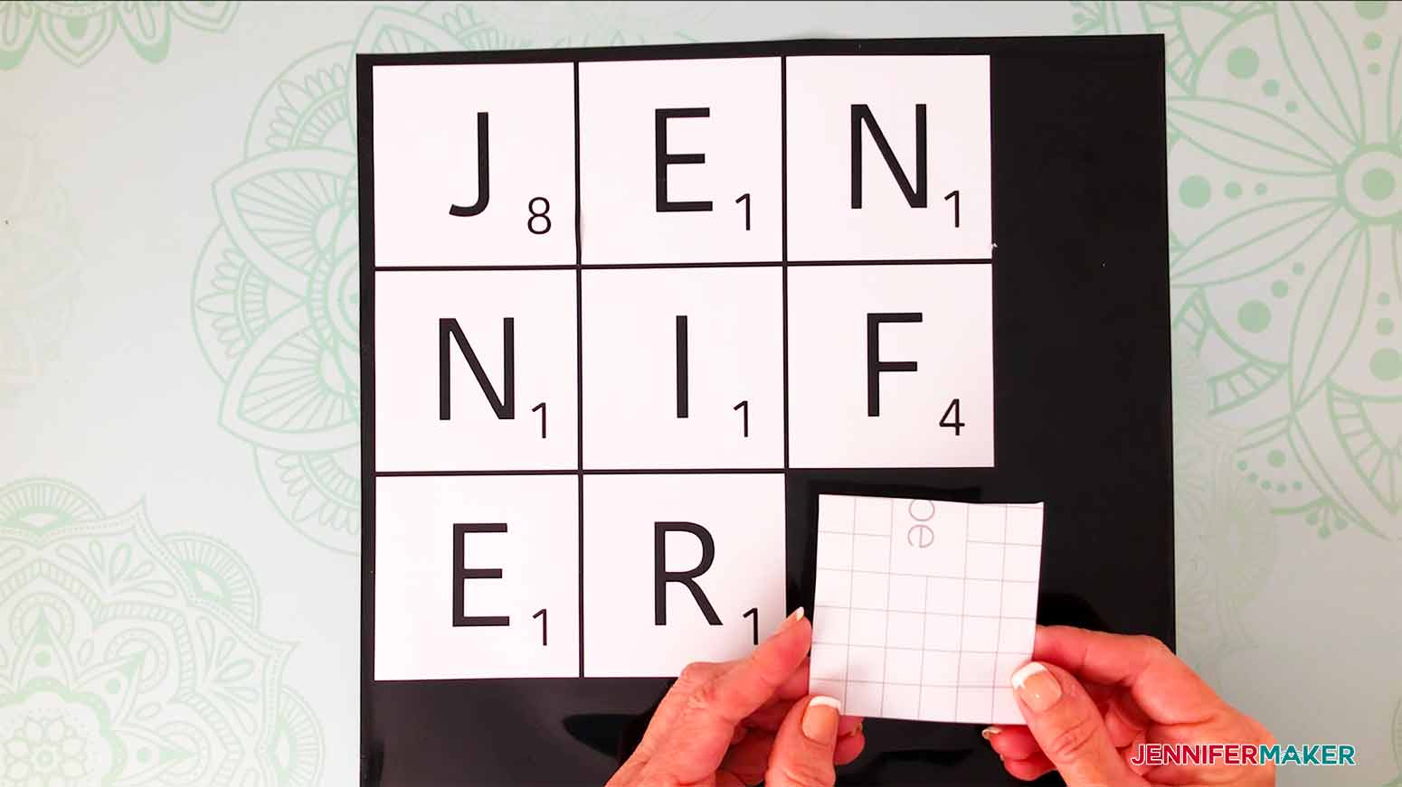 use a 3x3 piece of transfer tape for my scrabble wall art