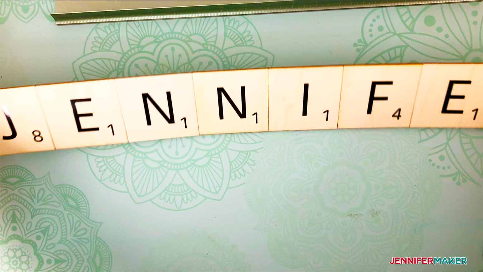 once taped flip over to check for accuracy before gluing wood to the back for my scrabble wall art