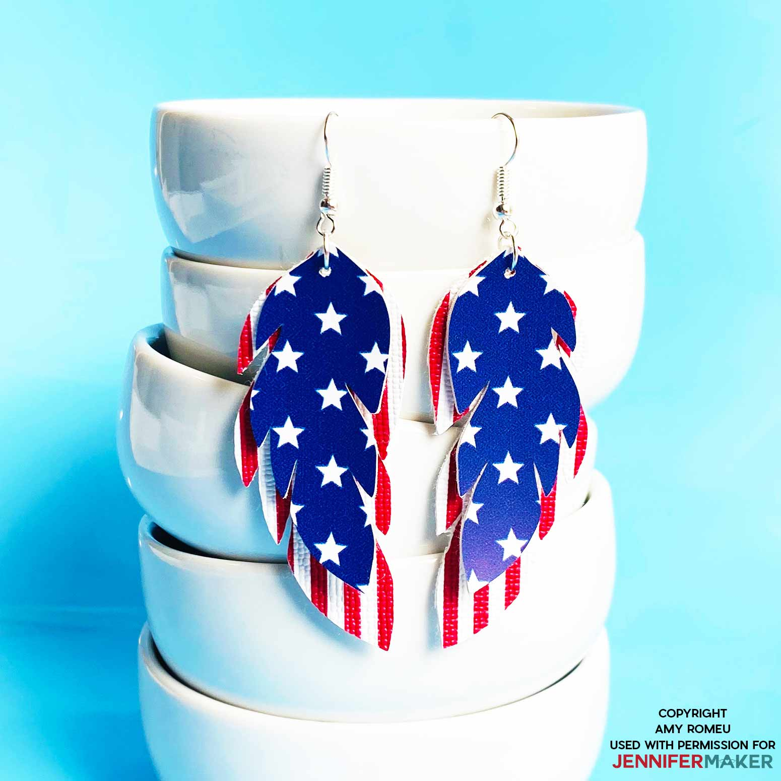 faux leather stars and stripe earrings by Amy Romeu