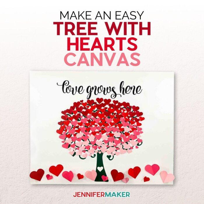heart tree canvas wall art