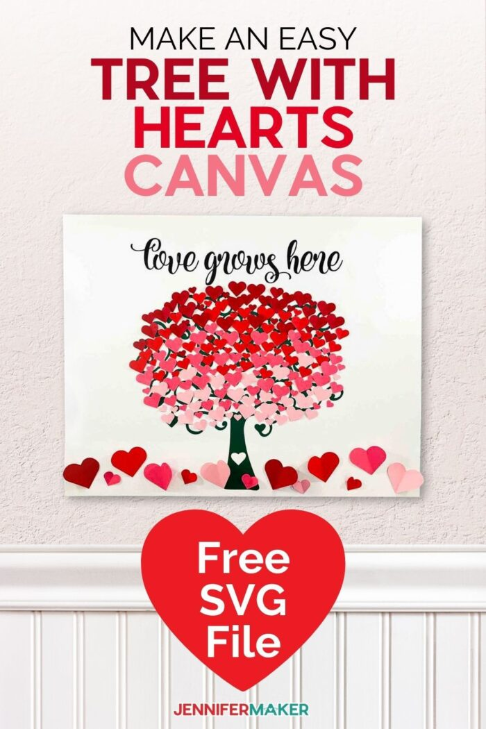 Make a heart tree canvas wall art for any room of your home or to give as a gift! Free SVG cut file and full instructions to make this on your Cricut at home!