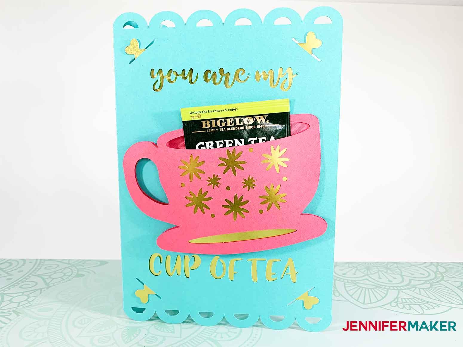 pretty tea cup card with tea bag