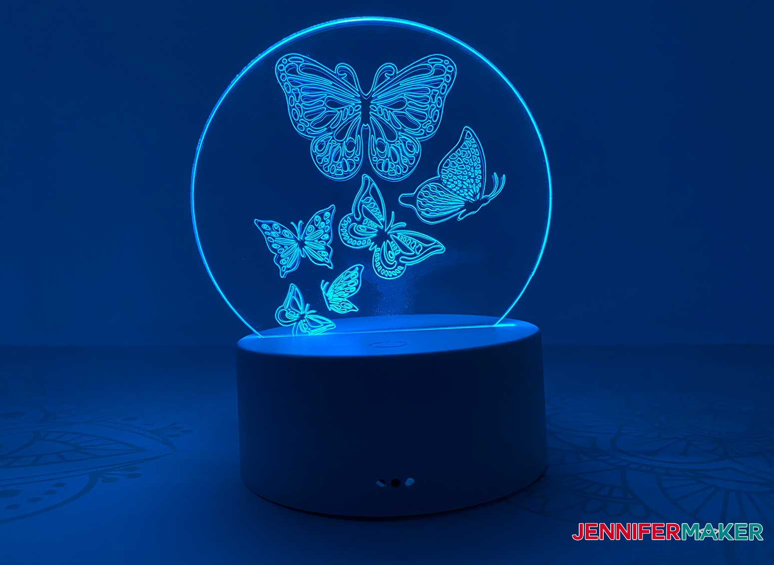 Make this engraved acrylic light with butterflies