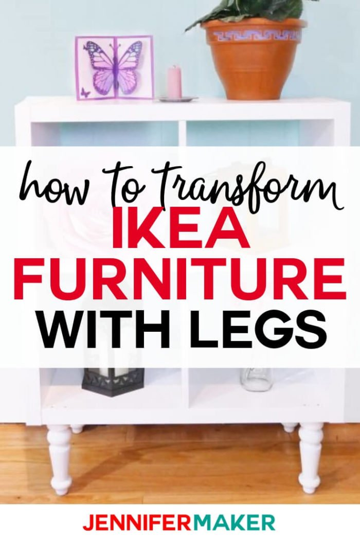 When you add furniture legs to IKEA shelves you transform your craft room or home with a custom piece of furniture. #diy #tutorial #craftroom