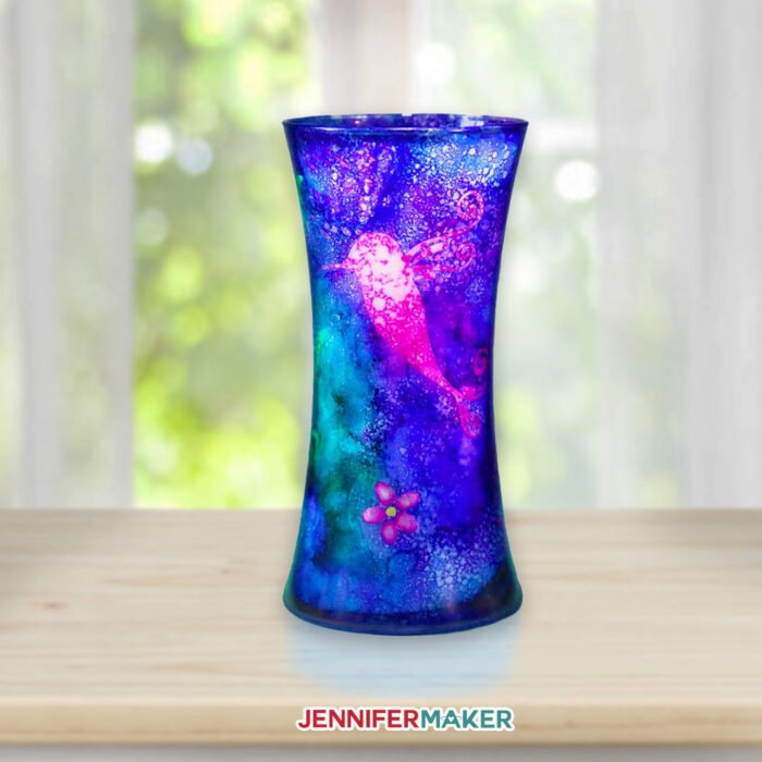 Paint an Alcohol Ink Glass Vase with stencils cut on a Cricut #svgcutfile #stencil