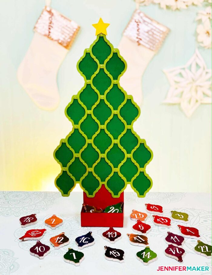 Tile Ornament Tree Countdown Calendar with ceramic tile ornaments - cut on the Glowforge and Cricut!