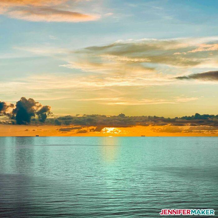 Atlantic ocean sunset near the Bahamas by Jennifer Maker