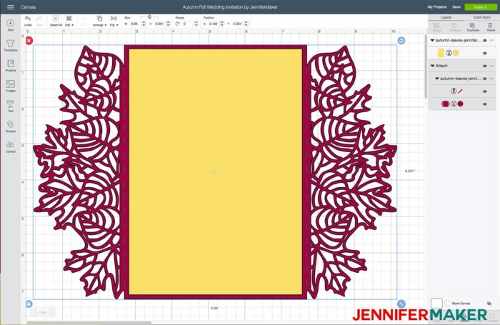 Upload the autumn fall wedding invitation SVG cut file to Cricut Design Space