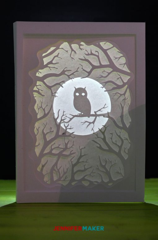 Owl Shad ow Box Card for Autumn | Free SVG DXF Cut File | Cricut Papercrafts