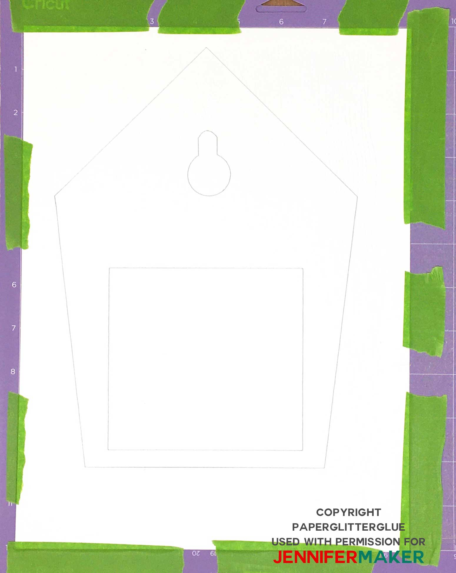 Watercolor paper on Cricut cutting mat for DIY cuckoo clock.