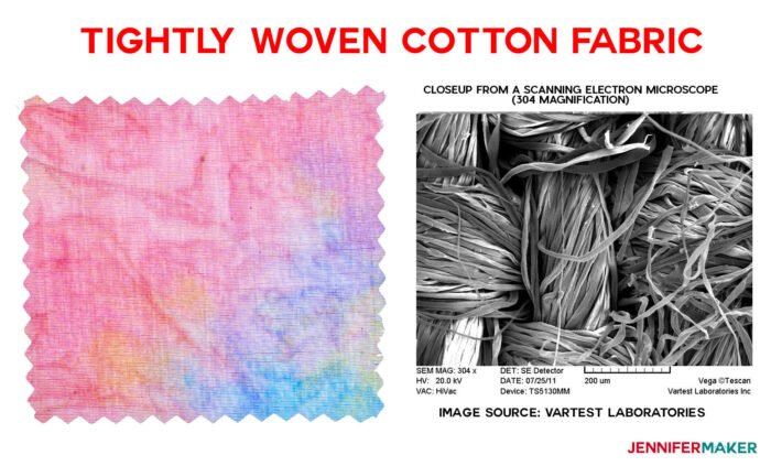 Closeup of tightly woven cotton fabric, which is one the best fabrics for DIY face masks