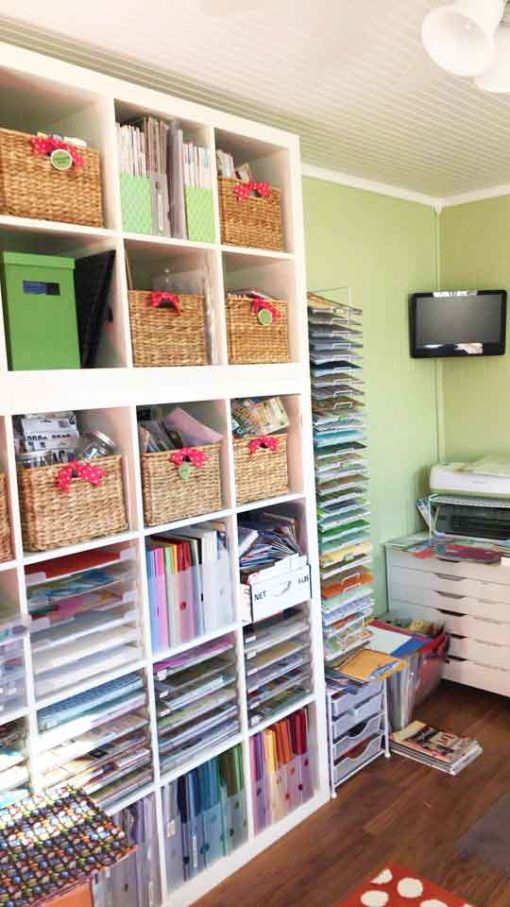 Expedit shelves make the best IKEA Craft Room Storage