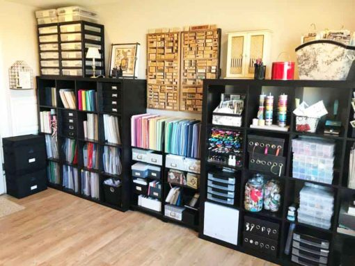 Two black Kallax units made the best IKEA craft room storage