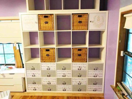 Kallax units with stenciled drawers make the best IKEA craft room storage
